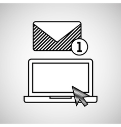 Hand draw laptop email social network media vector