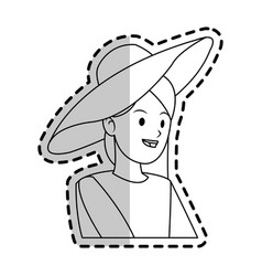 happy pretty woman with big sun hat icon imag vector image
