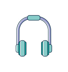 headphones device melody sound music line and fill vector image