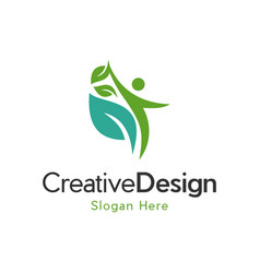 human leaf naturally creative business logo vector image