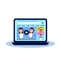Laptop media load concept online video stream vector