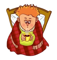 Little freezing man drinks hot drink in bed vector