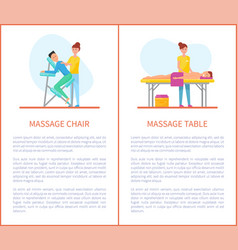 massage chair and table cartoon equipment set vector image