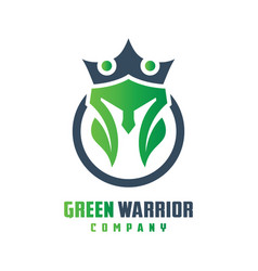 natural warrior helmet logo design vector image