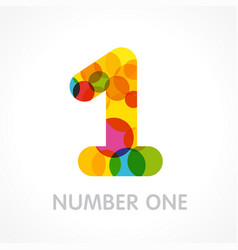 Number one circle color logo concept vector