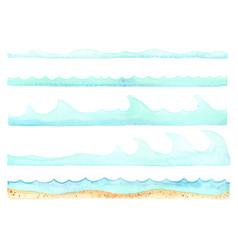 ocean wave and sand beach border watercolor vector image