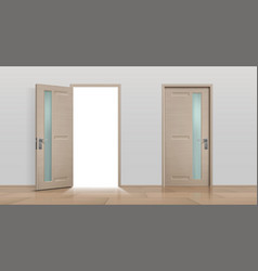 Open and closed doors realistic 3d white vector