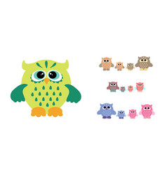 owl family set vector image