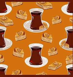 pattern with turkish cup with tea on a saucer vector image