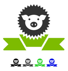 Pig reward ribbon flat icon vector
