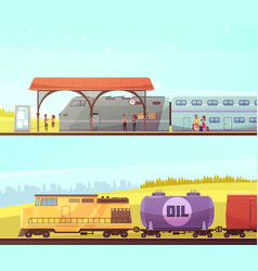 Railway horizontal banners vector