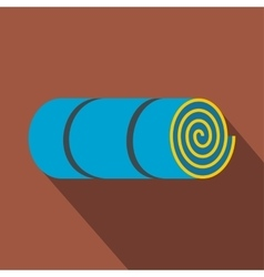 Rolled-up blue tourist mat vector