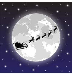 Santa claus rides on deer at night vector