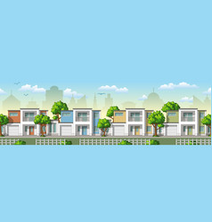 seamless cityscape cartoon background with trees vector image