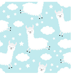seamless pattern alpaca llama jumping cloud star vector image