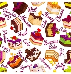 Seamless pattern with cakes and typography vector image