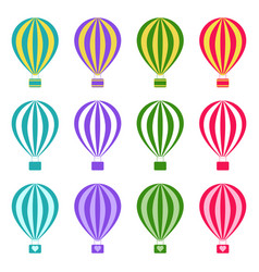 set of hot air balloons on white background vector image