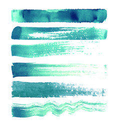 Set of turquoise brush strokes vector