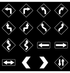 Set of white road traffic signs vector