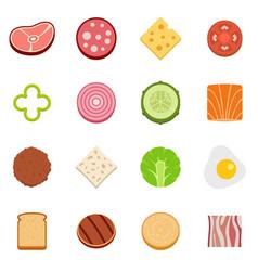 Slice food ingredient icons set flat vector