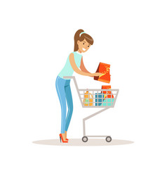 Smiling woman with shopping cart shopping in vector