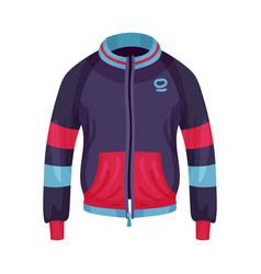 Sportive zippered track jacket with long sleeves vector