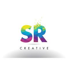Sr s r colorful letter origami triangles design vector