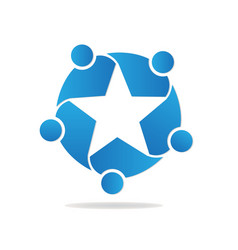 Star shape teamwork people logo vector