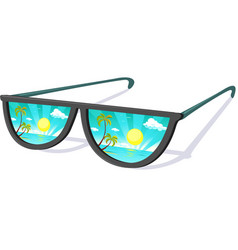 sun glasses with tropical beach reflexion - vacati vector image