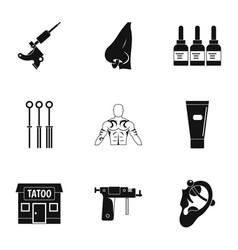 Tattoo salon specialist icon set simple style vector