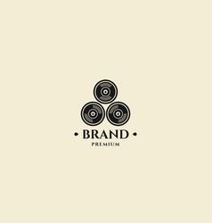 Three bullet head stamp logo design template vector