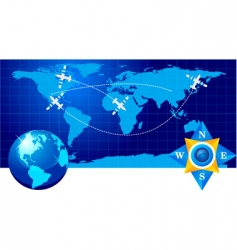 Travel illustration plane on map vector