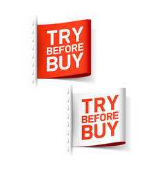 try before buy labels vector image
