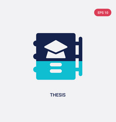 Two color thesis icon from graduation and vector