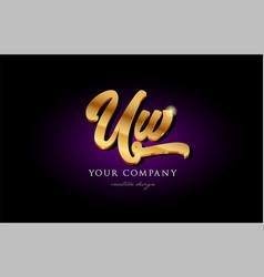 uw u w 3d gold golden alphabet letter metal logo vector image