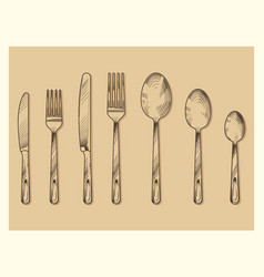 vintage cutlery set design hand drawn vector image