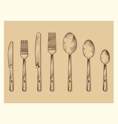 Vintage cutlery set design hand drawn vector