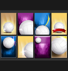 volleyball poster set empty template for vector image