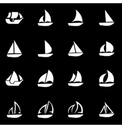 white sailboat icon set vector image