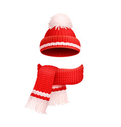 winter warm red hat white pom-pom knitted scarf vector image