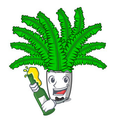 With beer fresh fern branch isolated on mascot vector