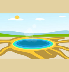 Yellowstone lake landscape in design vector