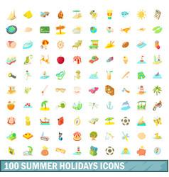 100 summer holidays icons set cartoon style vector image