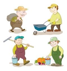Cartoon gardeners work vector image vector image