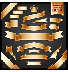 Golden Ribbons Banners Collection Set4 vector image vector image
