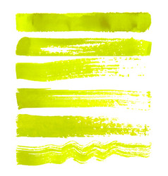 set of yellow brush strokes vector image vector image