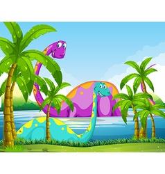 Dinosaur having fun in the lake vector image vector image