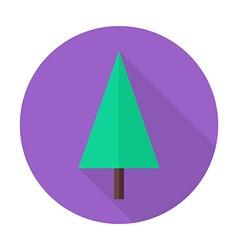 Flat Christmas Tree Circle Icon with Long Shadow vector image vector image