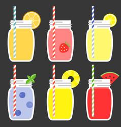fruit juice in jar vector image vector image