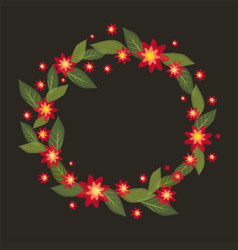 a wreath of red flowers in -style embroidery vector image vector image